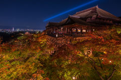 Iight up laser show at kiyomizu dera temple Stock Images