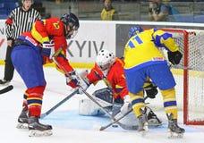 IIHF 2018 Ice Hockey U18 World Championship Div 1B. KYIV, UKRAINE - APRIL 20, 2018: IIHF 2018 Ice Hockey U18 World Championship Div 1 Group B game Ukraine Yellow royalty free stock photo