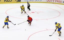 IIHF 2018 Ice Hockey U18 World Championship Div 1B. KYIV, UKRAINE - APRIL 20, 2018: IIHF 2018 Ice Hockey U18 World Championship Div 1 Group B game Ukraine Yellow royalty free stock photography