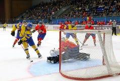 IIHF 2018 Ice Hockey U18 World Championship Div 1B. KYIV, UKRAINE - APRIL 20, 2018: IIHF 2018 Ice Hockey U18 World Championship Div 1 Group B game Ukraine Yellow stock photography