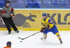 IIHF 2018 Ice Hockey U18 World Championship Div 1B. KYIV, UKRAINE - APRIL 20, 2018: Olexander PERESUNKO of Ukraine in action during the IIHF 2018 Ice Hockey U18 stock images