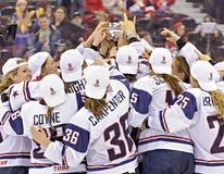 IIHF kobiet Lodowego hokeja Światowy mistrzostwo Kanada v usa - złotego medalu dopasowanie - fotografia stock