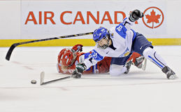 IIHF kobiet Lodowego hokeja Światowy mistrzostwo Rosja v Finlandia - brązowego medalu dopasowanie - zdjęcie royalty free