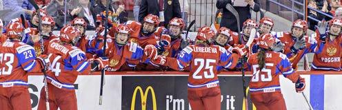 IIHF kobiet Lodowego hokeja Światowy mistrzostwo Rosja v Finlandia - brązowego medalu dopasowanie - obrazy stock