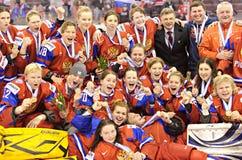 IIHF kobiet Lodowego hokeja Światowy mistrzostwo Rosja v Finlandia - brązowego medalu dopasowanie - obraz royalty free