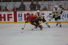 2017 IIHF LODOWEGO hokeja ŚWIATOWY mistrzostwo - Australia vs Belgia Obrazy Stock