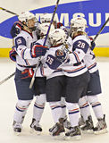 IIHF Women's Ice Hockey World Championship - Gold Medal Match - Canada v USA. Members of Team USA celebrate after scoring against Team Canada during the IIHF Royalty Free Stock Photography