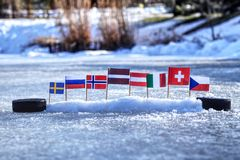 2019 IIHF World Championship in Slovakia. This flags represented states who will playing in Group B on championship in ice hockey. Czech, Sweden, Norway royalty free stock images