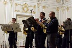 III Internationalfestival des französischen Horns in St Petersburg, Russland Lizenzfreie Stockfotos