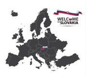 IIllustration ενός χάρτη της Ευρώπης με την κατάσταση της Σλοβακίας Στοκ φωτογραφία με δικαίωμα ελεύθερης χρήσης