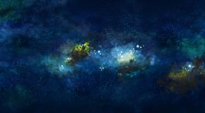 Iillustration, avec la nébuleuse de l'espace et les étoiles bleues Image libre de droits