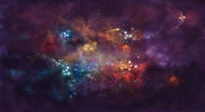 Iillustration, con niebla del espacio y el paquete de estrellas libre illustration