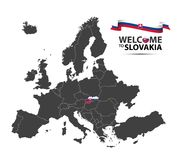 IIllustration d'une carte de l'Europe avec l'état de la Slovaquie illustration stock