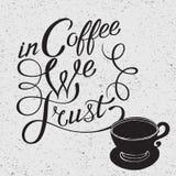 Iillustration de la silueta y de la frase de la taza de café Fotos de archivo
