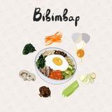 IIllustration dla przepisu bibimbap kuchnia azjatykcia Set składniki dla kulinarnego bibimbap ilustracja wektor
