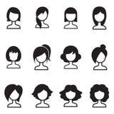 IIllustration do símbolo dos ícones do penteado da mulher Fotos de Stock Royalty Free