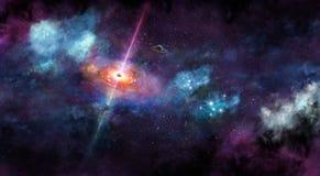 Iillustration, mit blauem Nebelfleck des Raumes, Nebel und Sternen Stockbild
