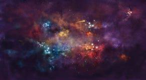 Iillustration, mit Raumnebel und Paket von Sternen lizenzfreie stockfotografie
