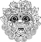 Iilustration of a Thai mask. Black and white drawing of the eastern deity stock illustration