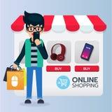IIlustration van mensentribune met zak het winkelen online o stock illustratie
