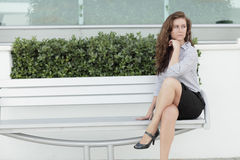 IImage Of A Businesswoman On A Bench Royalty Free Stock Photography