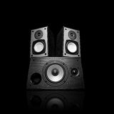 Iimage trzy audio mówcy, odizolowywający na czerni Obrazy Stock