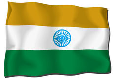 Iindian Flag. Flag indian waving with highly detailed textile texture pattern Royalty Free Illustration