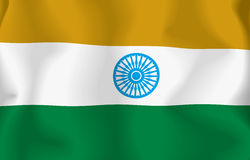 Iindian Flag. Flag indian waving with highly detailed textile texture pattern Stock Illustration