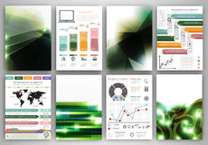 Iinfographic template and abstract green backgrounds Royalty Free Stock Photos