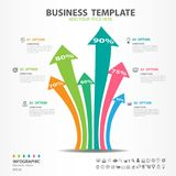 Iinfographics elements diagram with 6 steps, options, arrow icon, web design, presentation, chart Vector illustration. Iinfographics elements diagram with 6 stock illustration