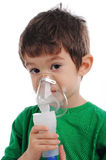 Iinhalation at home. White boy is having inhalation at home stock images