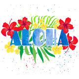 Iinscription Aloha with tropical flowers. Inscription Aloha with tropical flowers in the background. Bright beautiful illustration for postcard, poster, or T Royalty Free Stock Photo