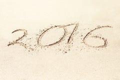 Iinscription sulla sabbia 2016 Immagine Stock Libera da Diritti
