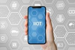 IIOT przemysłowy internet wystawiający na ekranie nowożytny bezszkieletowy smartphone rzecz tekst bank tła ręka trzymająca zauważ Zdjęcie Royalty Free