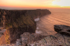 IIrish cliffs of Moher. Cliffs of Moher at sunset - Ireland Royalty Free Stock Images