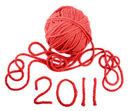 Iisolated red skein Stock Photography