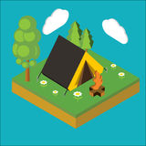 Iisometric camp, flat 3d isometric pixel art. Iinfographics illu. Stration Royalty Free Stock Images