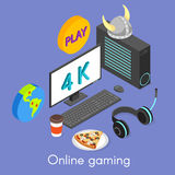 Iisometric concept for online gaming. Royalty Free Stock Photography