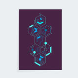Iisometric cyber techno cover design template. A4 vector isometric cyber techno cover design template for booklet, brochure or book royalty free illustration