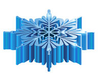 Iisometric 3D snowflake. Merry Christmas isometric 3D snowflake template in blue color on white background isolated  illustration Royalty Free Stock Photography