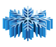 Iisometric 3D snowflake. Merry Christmas isometric 3D snowflake template in blue color on white background isolated  illustration Stock Images