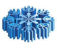 Iisometric 3D snowflake. Merry Christmas isometric 3D snowflake template in blue color on white background isolated vector illustration Royalty Free Stock Photography