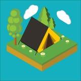 Iisometric läger, plan isometrisk konst för PIXEL 3d Iinfographics illu Vektor Illustrationer
