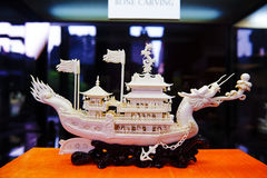 Iivory carving of ship Royalty Free Stock Images
