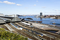 IJ River & Railway Station Amsterdam Stock Images