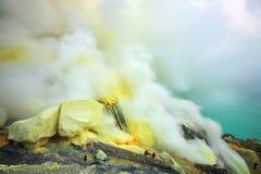 Ijen crater. Sulfurous fumaroles in Ijen crater. Java. Indonesia stock image