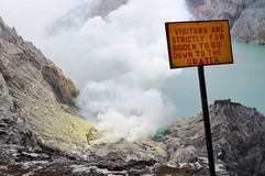 Ijen Crater. Sulfureous Ijen Crater in West Java Indonesia Stock Photos