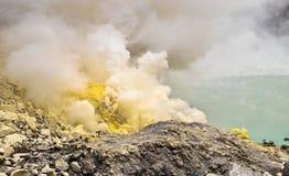 Ijen Crater. Sulfurous fumaroles in Ijen crater. Java. Indonesia royalty free stock images