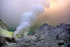 Ijen crater. Its a landscape of banyuwangi famous crater called ijen royalty free stock photos