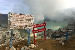 Ijen Crater Volcano Warning Sign Stock Image